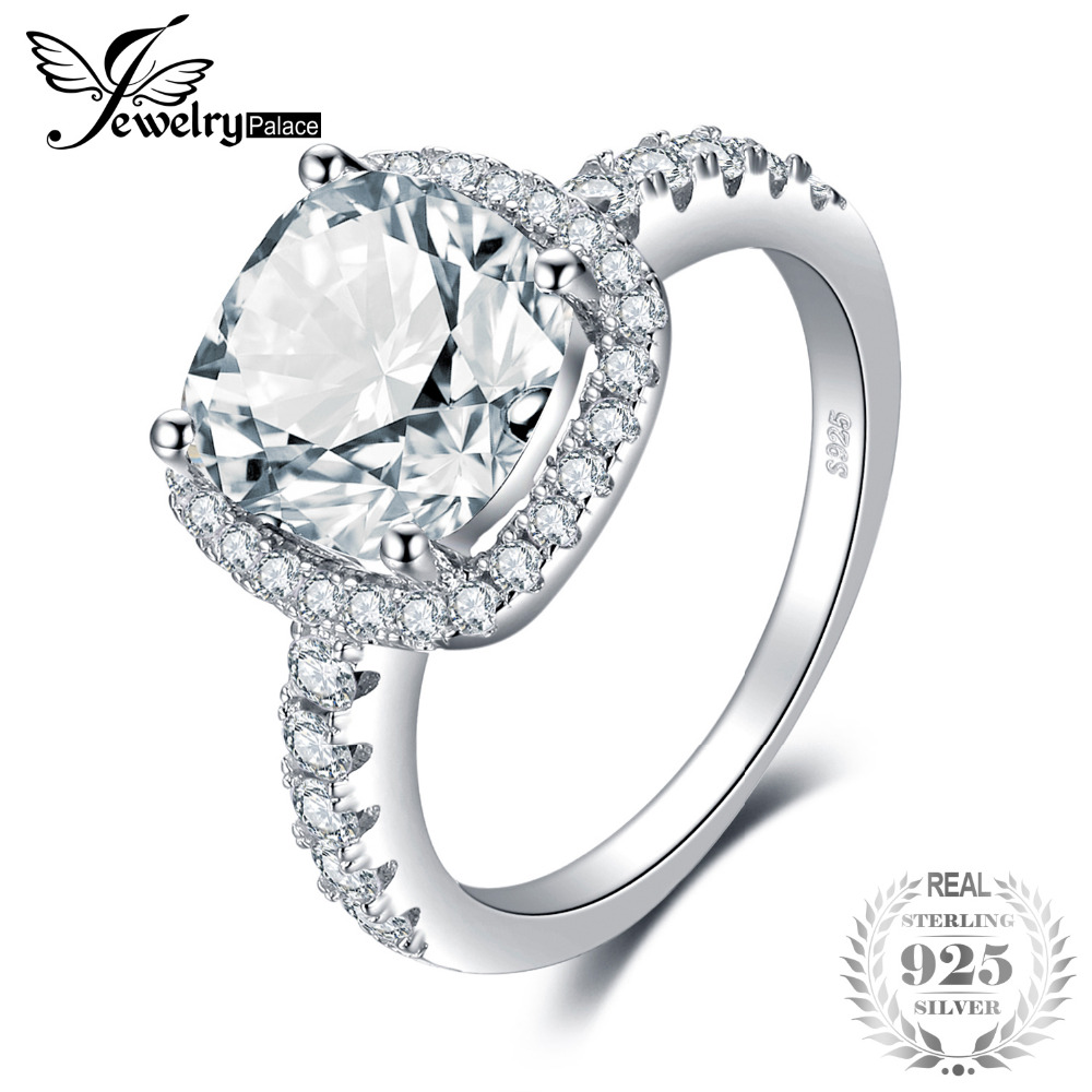 JewelryPalace Cushion 3ct Wedding Halo Solitaire Engagement Ring 925 Sterling Silver Ring for Wedding Jewelry 2018 New Hot jewelrypalace classic wedding solitaire ring for women pure 925 sterling silver simple wedding jewelry fashion gift