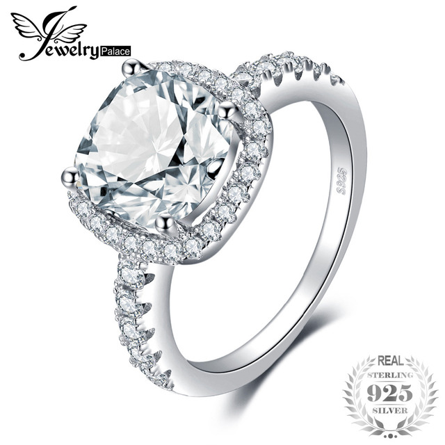 JewelryPalace Cushion 3ct Wedding Halo Solitaire Engagement Ring 925 Sterling Si