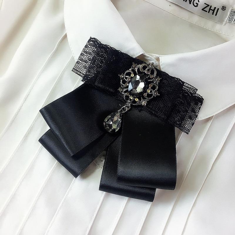 Vintage New Woman Brooches Big Ribbon Black Bowknot Shirt's Bow Tie Long Tassel Pearl Lace