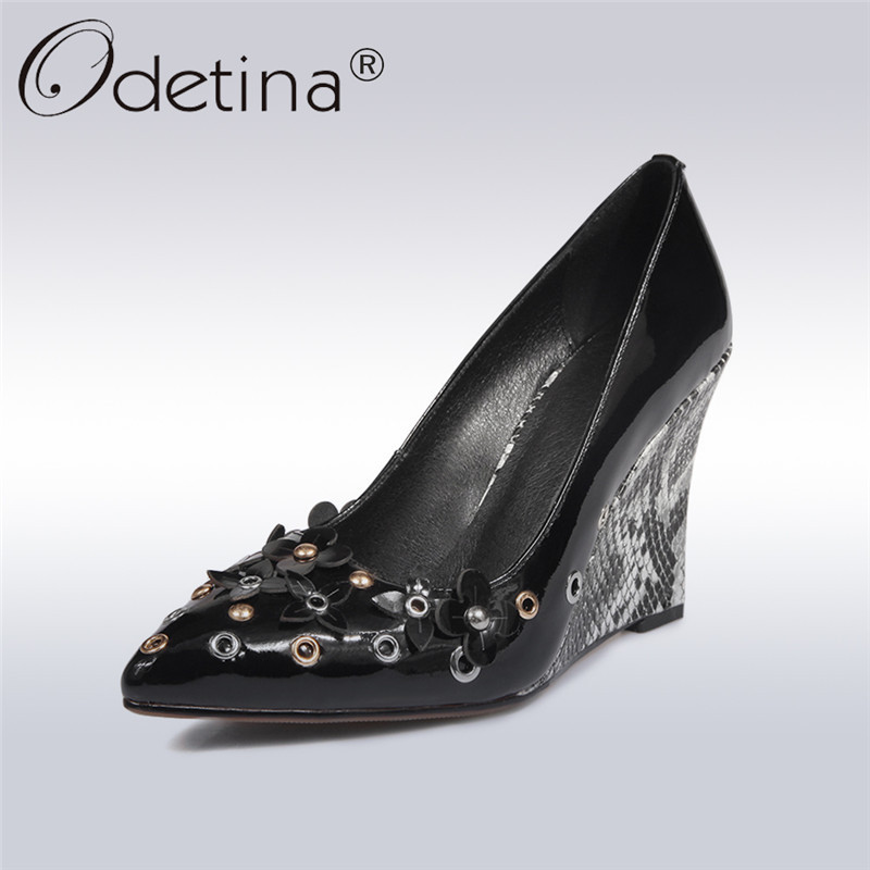 Odetina 2018 New Fashion Women Wedge High Heel Pumps Patent Leather Slip on Shoes Pointed Toe Snakeskin Pumps Prom Party Shoes nayiduyun women genuine leather wedge high heel pumps platform creepers round toe slip on casual shoes boots wedge sneakers