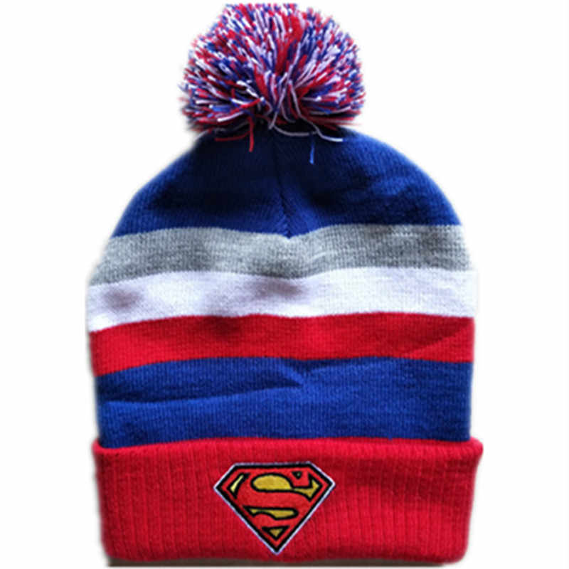 Cartoon anime Cotton knitting Super Hero Super man Cap Cosplay Super man autumn winter Soft Warm hat fit for Adult Kid with Pom