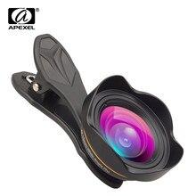 Apexel kit de lentes de câmera óptica, profissional, 15mm, 4k, lentes com ângulo wide, sem distorção, para iphonex 8 plus htc more smartphone