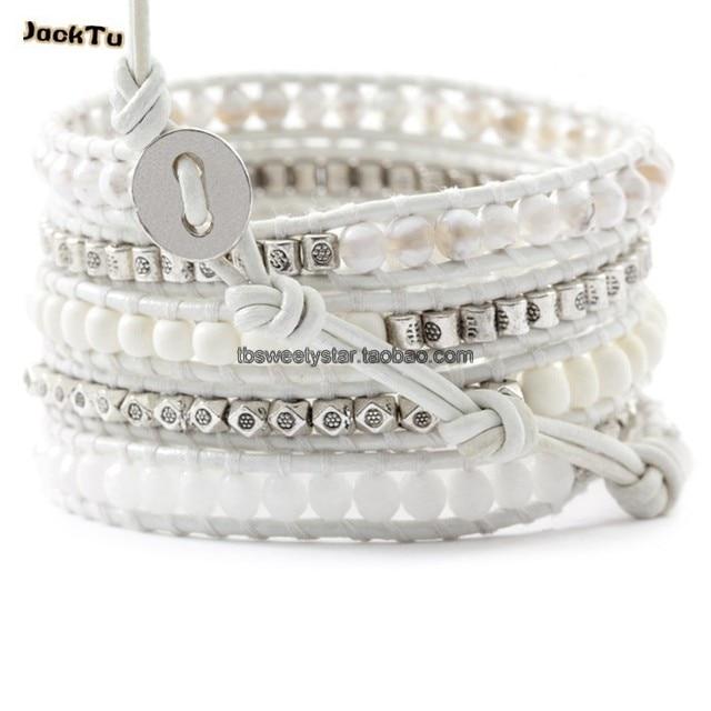 2015 JackTu white turquoise beads leather wrap bracelet
