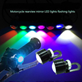 1piece Waterproof Motorcycle Mirror Mount LED Daytime Running Fog Light Bulb DRL Bright White/Red/Ice Blue/Pink/Green/Yellow