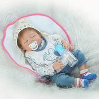57 см Новый Reborn Baby Girl Boy Спящая Ванна Полный Силиконовые Реалистичные Моделирование Куклы Подарок На День Рождения