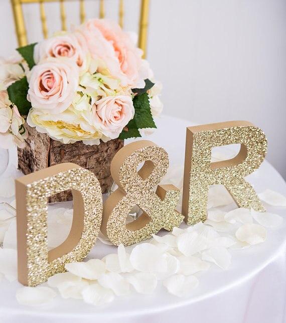 Свадебные пользовательское имя для Свадебные украшения древесины письмо знак письма Таблица знак золотой блеск