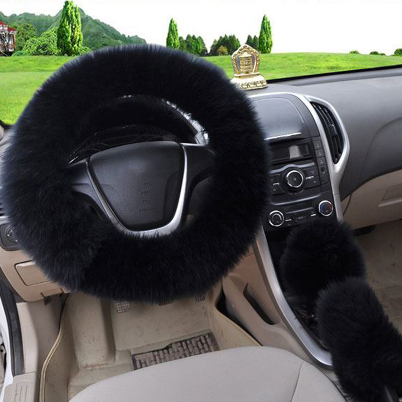 3pcs Set Car Auto Long Plush Warm Steering Wheel Faux Fur Handbrake Cover