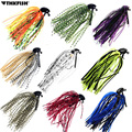 10Pcs/Lot 7g 10g 14g Bass Fishing Jigs Mix Color Rubber Skirt Lure Swim Buzz Metal Lead Jig Heads VMC Hooks Skirt Fishing Lures