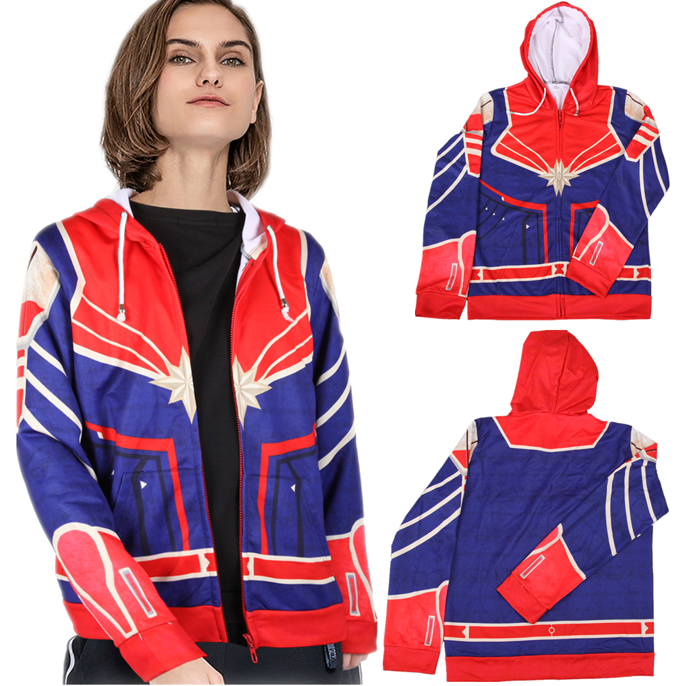 Adult Kids Captain Marvel Superhero Cosplay Sweatshirt Hoodie Carol Danvers Jacket Coat