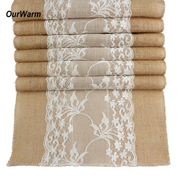 Ourwarm 10pcs Jute Burlap Table Runner 30x275cm Vintage Home Decor Wedding Decoration Borthday Hawaii Carnival Party Supplies