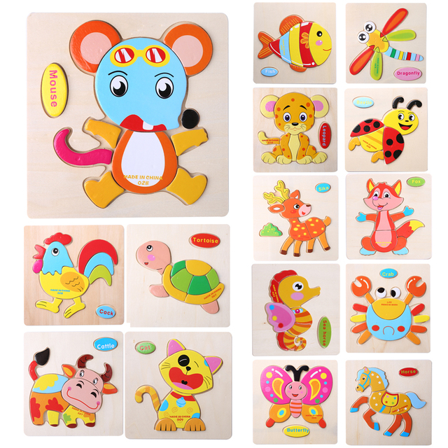 Wooden Cartoon Animals Dimensional Puzzle Toy
