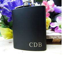 6oz/8oz  Personalized Hip Flask Engraved name Custom black leather stainless steel Gift for Him, Groomsmen Gifts 1 set personalized engraved 6oz black stainless steel hip flask with box wedding favors best man gift groom gift groomsman gift