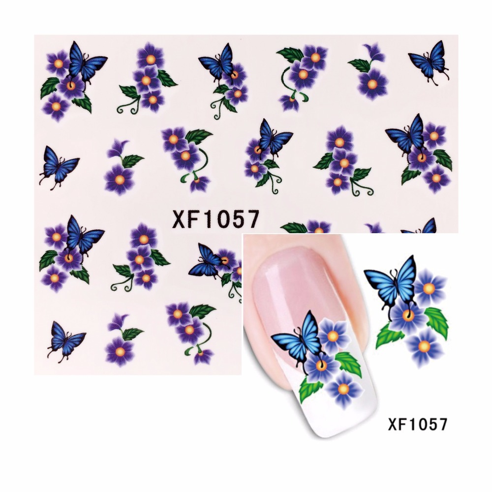 FWC Flower Design Watermark Beauty Nail Art Tips Sticker Full Wraps Water Transfer Stickers Decals For Nails 2016 cartoon design nail art manicure tips water transfer nail stickers paradise vacation desgins nails wraps collections decor