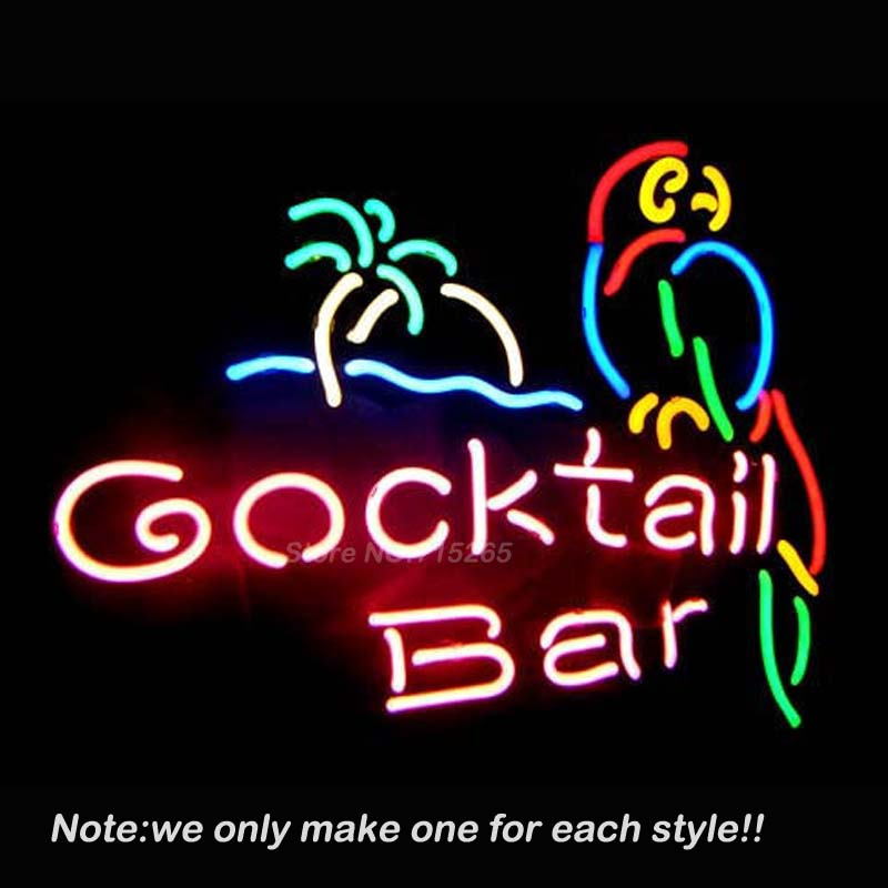 COCKTAIL BAR PARROT Pub Store Beer Pub Recreation Room Windows Sign Neon Signs Club Display Advertising Great Gifts 19x15