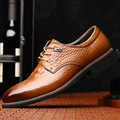 Hot Sale Men's Flats Shoes Italian Style Luxury Brand Business Dress Crocodile Embossed Genuine Leather Wedding Oxford Shoes