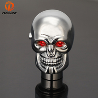 POSSBAY 94% OFF Universal Manual Car Gear Shift Knob Shifter Lever Skull Chrome Red LED Eyes Car Gear Knobs for Audi BMW Ford