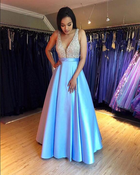 Beading Satin Long   Prom     Dresses