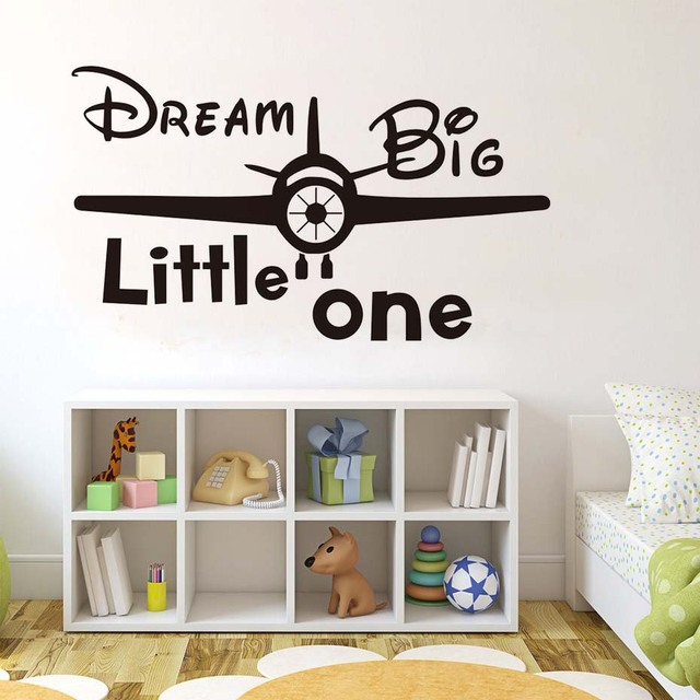 Dream big little one inspirational quotes wall stickers diy airplane art murals removable decals vinyl home