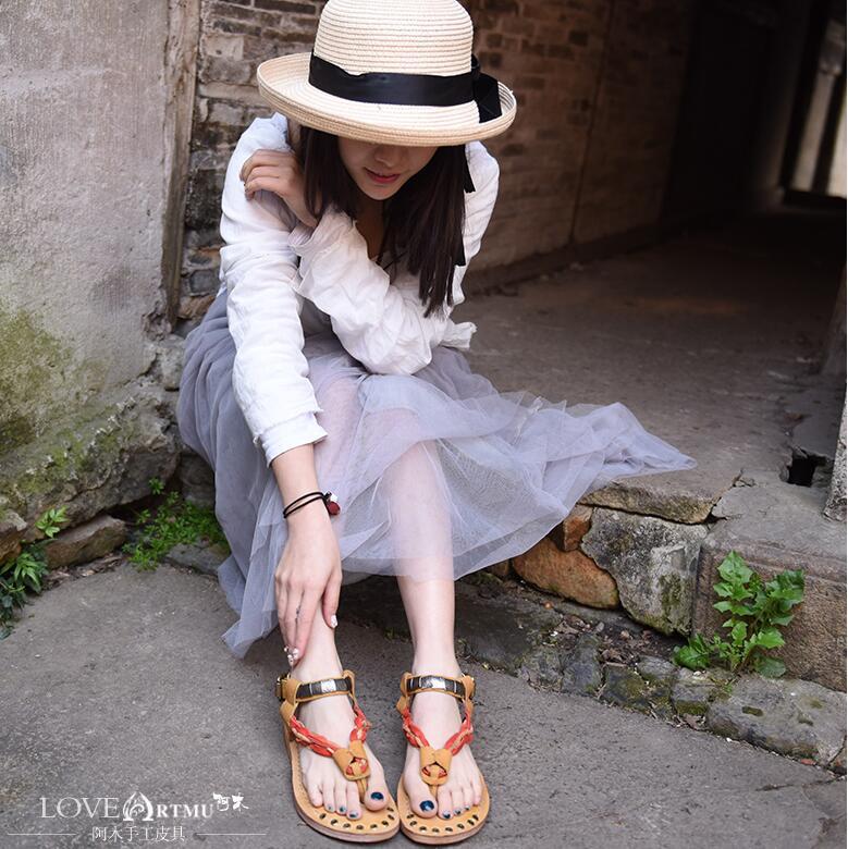 Boucle Sandalials Chaussures Cuir Sangle Artmu À Femmes Véritable La Flip Main En Sandales Mode Flops iOkuZTPX