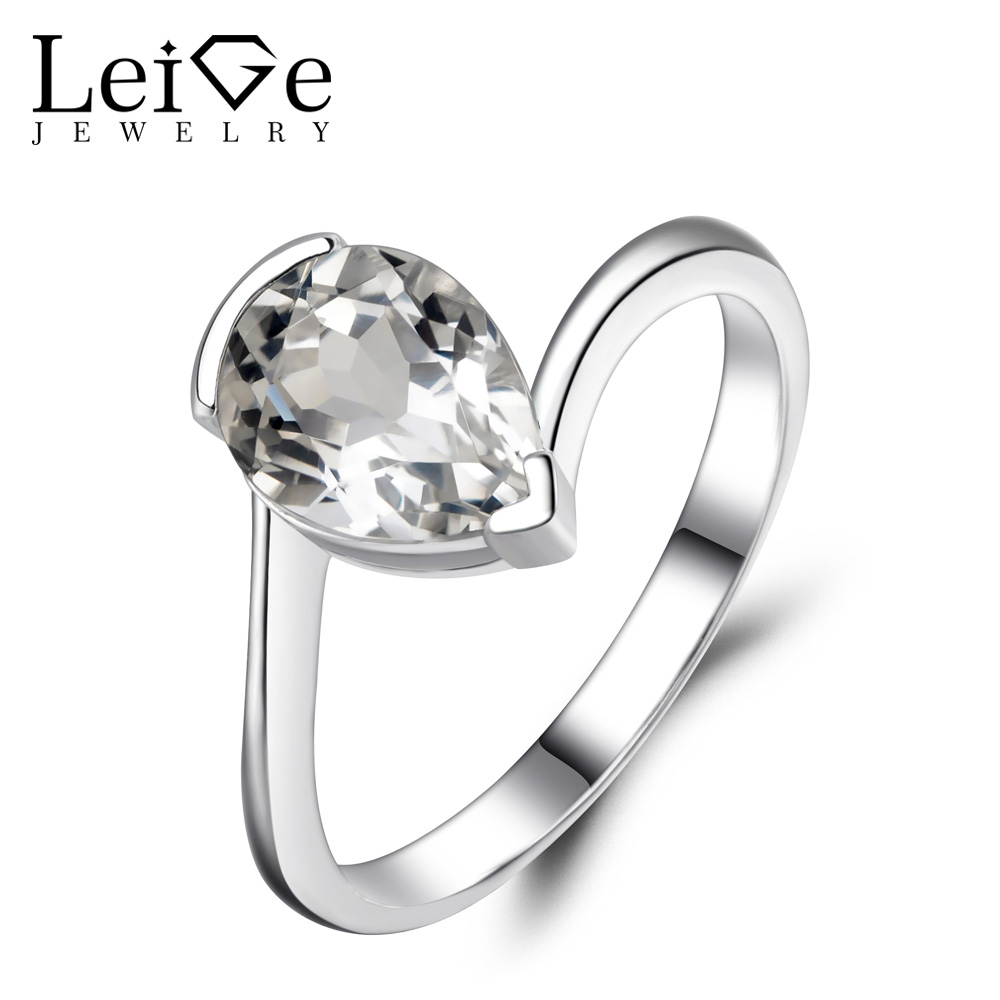Leige Jewelry Pear Cut White Topaz Rings Women Engagement Promise Ring Sterling Silver 925 Pear Cut Gemstone Jewelry leige jewelry pear shaped engagement rings for women lab alexandrite promise ring sterling silver 925 fine jewelry pear gemstone