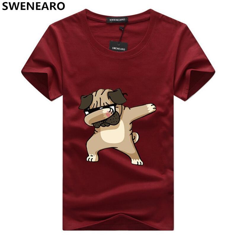 SWENEARO Men's T-shirt Fashion Animal Dog Print Funny T-shirt Men's Summer Casual Male T Shirt Hipster Hip-hop Tee shirt Men Top