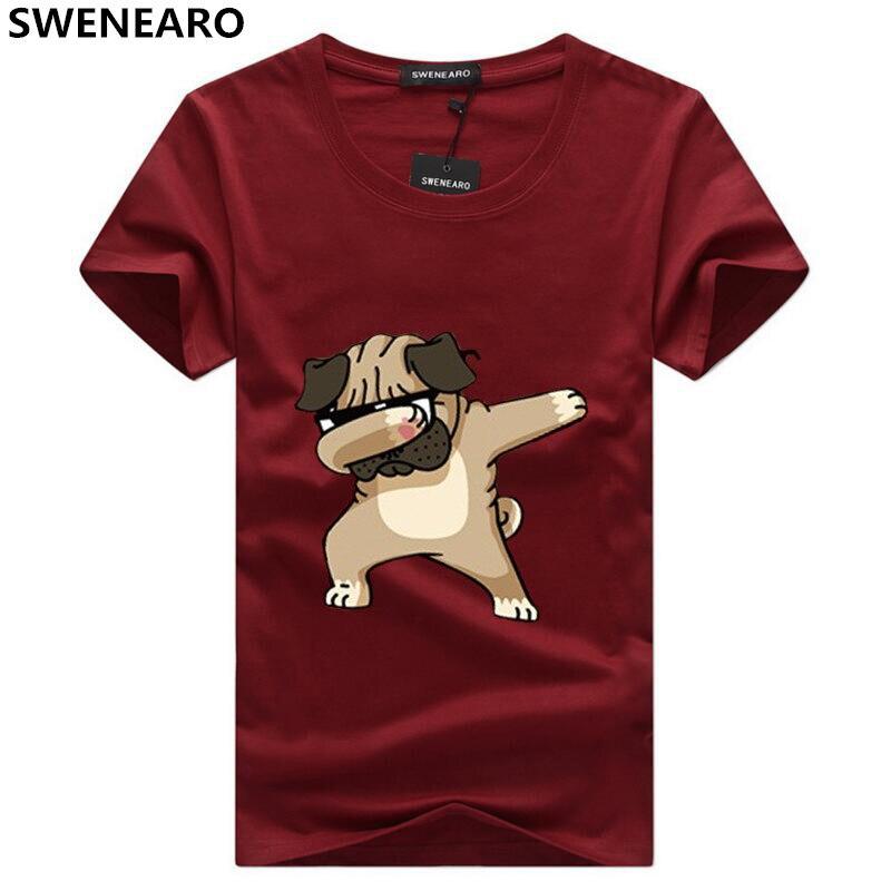 SWENEARO hommes T-shirts mode Animal chien imprimé Hipster drôle t-shirt hommes décontracté rue hip-hop t-shirt homme hauts 5XL