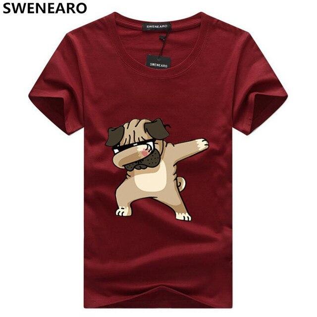 SWENEARO męskie koszulki moda zwierząt pies druku Hipster Funny t koszula mężczyzna lato na co dzień ulica hip-hop Tee koszula mężczyzna topy 5XL