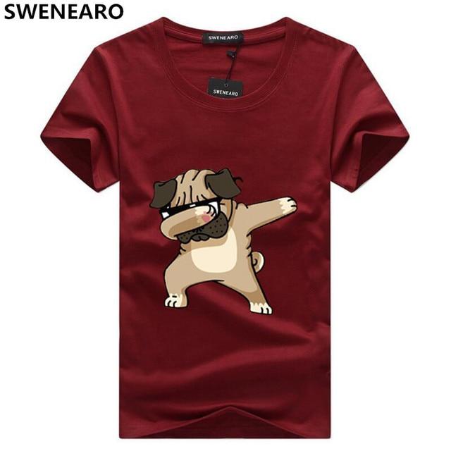 SWENEARO גברים של חולצות אופנה בעלי החיים כלב הדפסת הברנש מצחיק t חולצה גברים קיץ מקרית רחוב היפ הופ חולצה חולצות 5XL