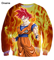Onseme Das Mulheres Dos Homens de Manga Longa Outerwear Bonito Goku Dragon Ball Anime Camisolas Crewneck Pullovers 3D Camisola Masculino Feminino