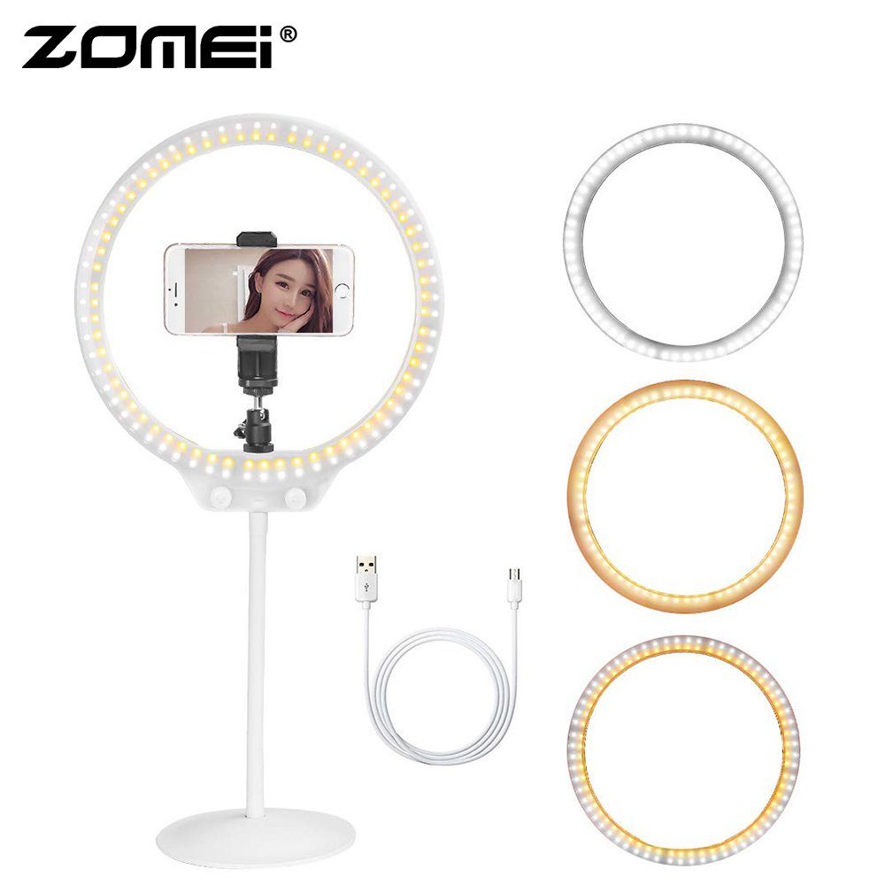 Zomei White ZM128 10.5 Mini Desktop Dimmable Ring Light Beauty Light for Makeup Lighting YouTube Video and Selfie Photography