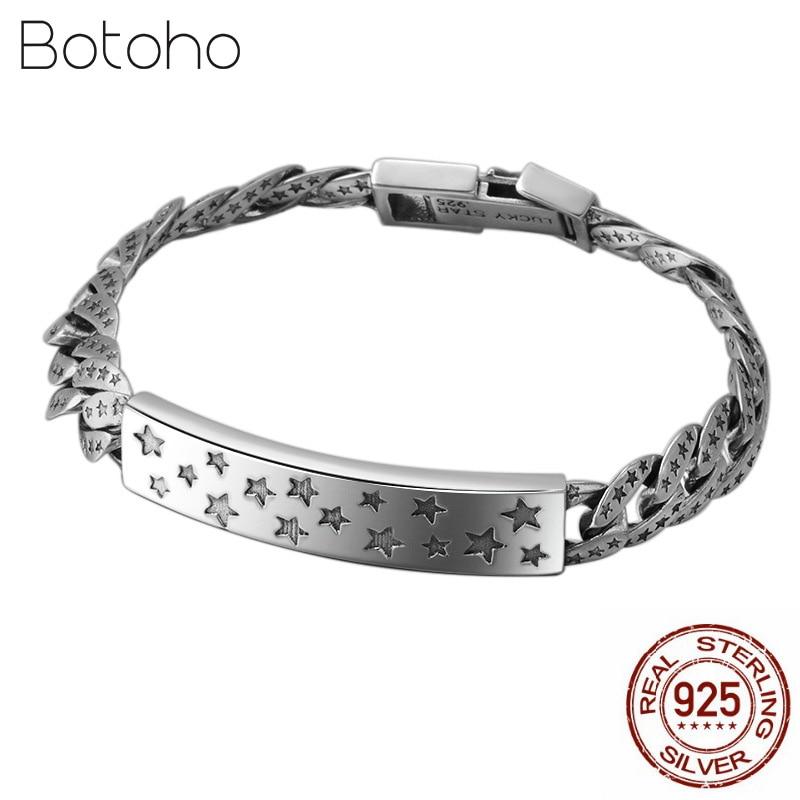 100 925 Sterling Silver Lucky Star Bracelet For Men Women Width 9mm Vintage Punk Rock Link