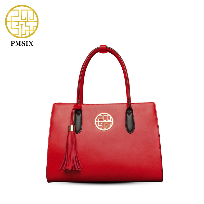 PMSIX Retro Vintage Women'S Leather Handbag Red Tassel Large Tote Bag High Quality Designer Brand Women Bag P120017 high quality iron wire frame sun glasses women retro vintage 51mm round sn2180 men women brand designer lunettes oculos de sol