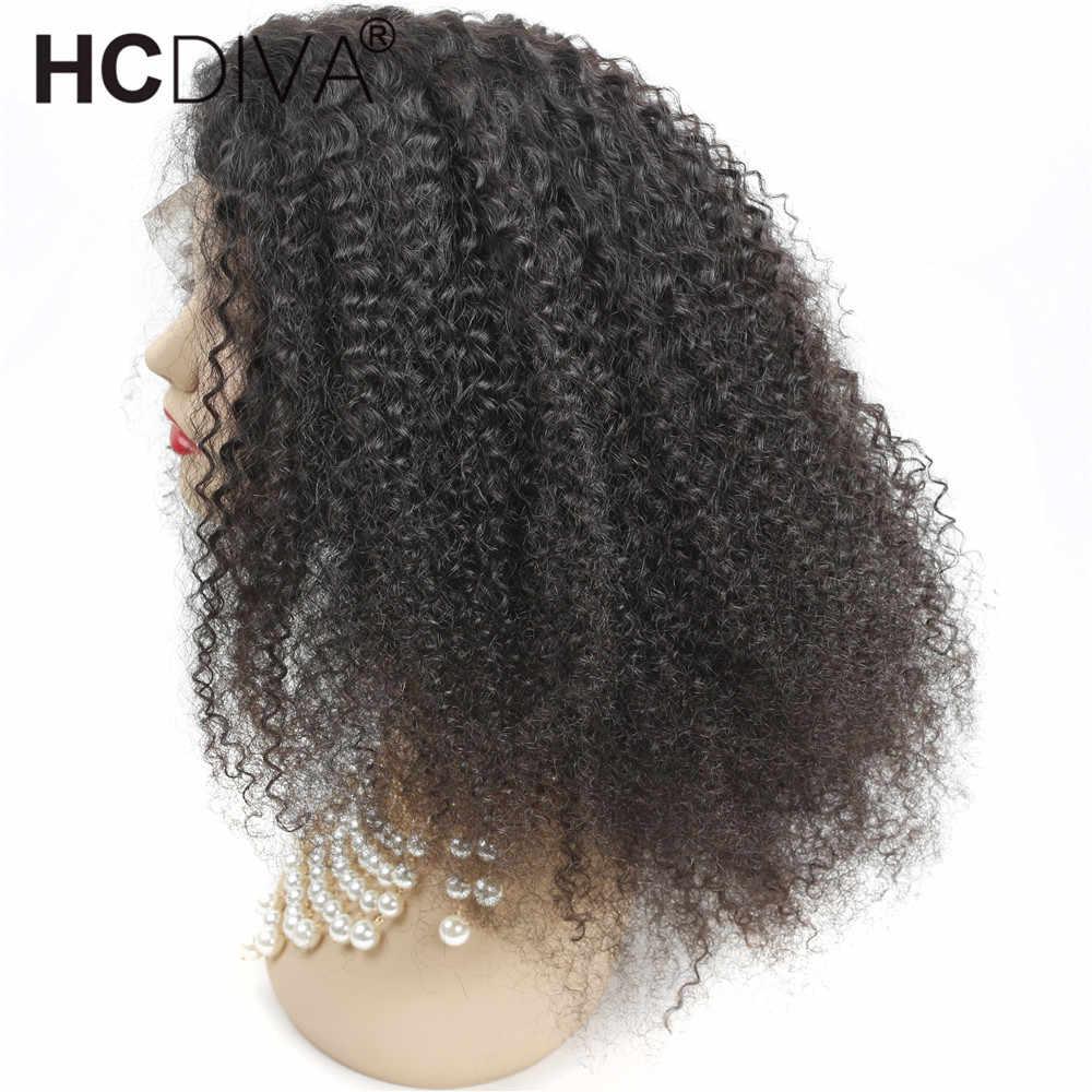 Кудрявый парик из человеческих волос с волосами младенца 180% монгольские волосы Remy короткие человеческие волосы парики 13*4 Кружева спереди al парик HCDIVA