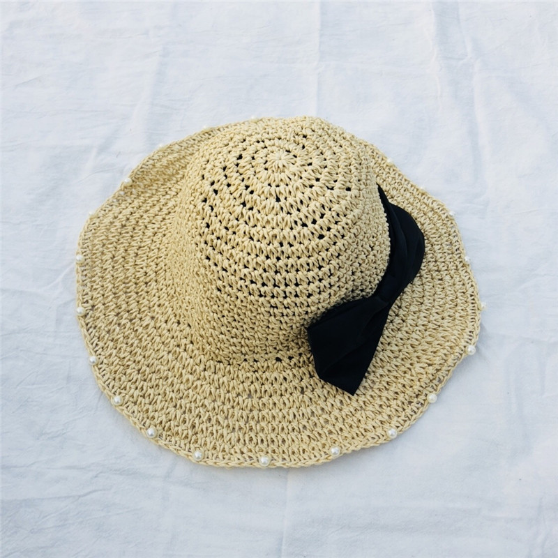 7d3da2b5b11 Summer Hats for Women Pearl Design Women Beach Sun Hat Bow tie Foldable  Brimmed Straw Hat Collapsible-in Sun Hats from Women s Clothing    Accessories on ...