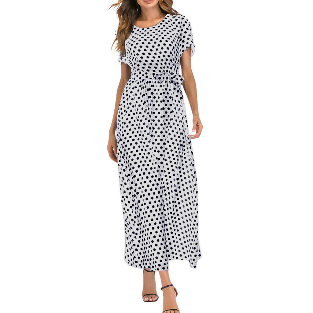 HTB1hPiSawaH3KVjSZFpq6zhKpXas - Summer Dress Women O-Neck Short Sleeve Boho Polka Dot Bandage Maxi Long Dress Women Beach Sundress Plus Size Vestidos