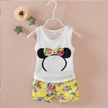 Christmas Gifts Baby Girls Clothes Kids Set Bow Short Sleeve T-Shirt +Pant Clothing Cartoon