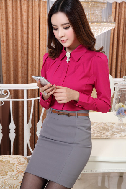 New 2015 Novelty Slim Fashion Business Women Office Suits With Blouses And Skirt Spring Autumn Beautician Clothing Tops Set