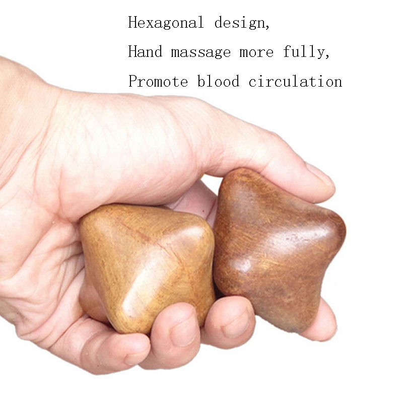 2pcs Natural Fragrant Wood Hexagonal Hand Massage Balls Roller Massager Sphere Acupuncture for Blood Circulate Relax Health Care hand massager ball roller finger rolling massage floating point acupoint blood circulation fitness health care stress relax