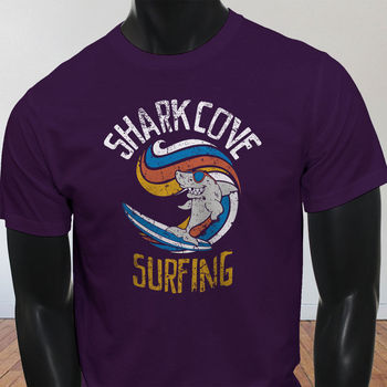 COOL SHARK SURFING SUMMER OCEAN WAVES WATER SPORT Mens Purple T-Shirt  Cartoon t shirt men Unisex New Fashion tshirt