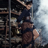 Women Victorian Bustle Inspired Steampunk Gothic Brown Lace High Low Ruffle Hem Long Skirt SP067CF