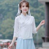 2019 summer qipao shirt women's cheongsam blouse chinese style vintage long sleeve tang topwholesale