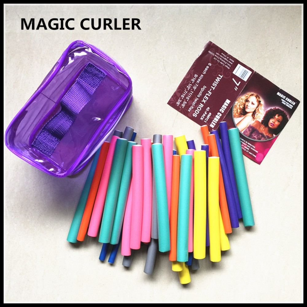 2018 hot hair curlers rollers magic curler Hair Twist bendy Flex Rods 42 PACK Beauty Curly Spiral Twist Curl Curlers Rollers Set