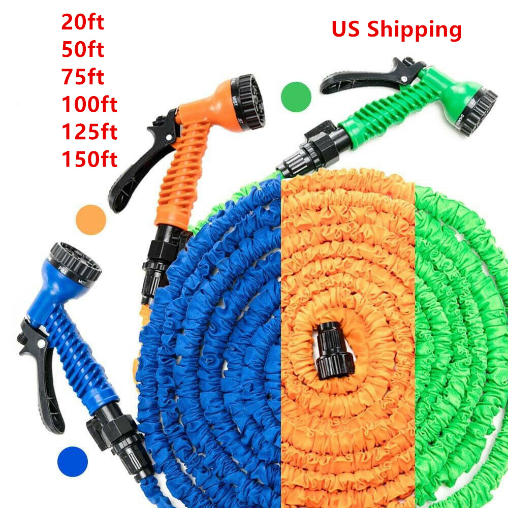 25FT-150FT Garden Hose Expandable Magic Flexible Water Hose EU Hose Plastic Hoses Pipe With Spray Gun To Watering US Shipping
