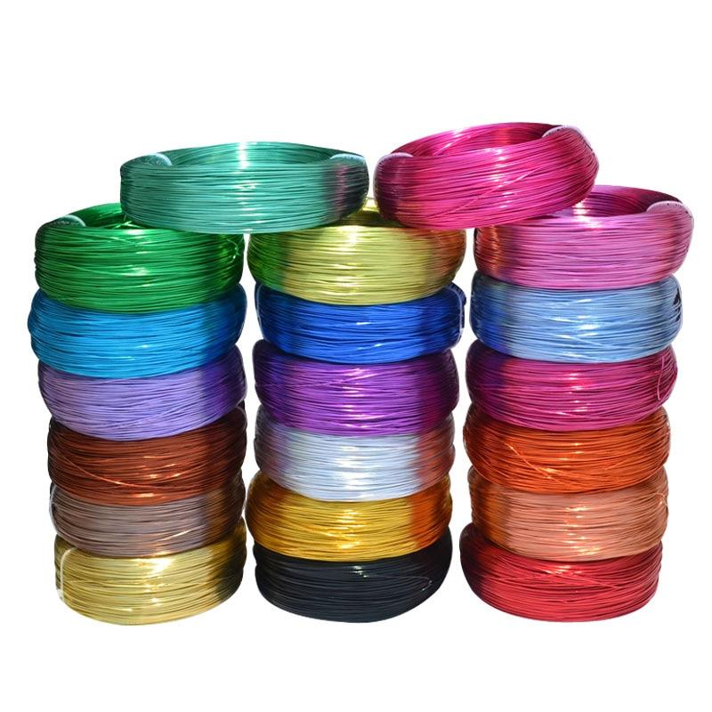 10 metros/Rolo 1mm Rodada Banhado Fio de Alumínio Artesanato Floricultura Para Contas De Jóias Fazendo Descobertas material Trançado 20 cores