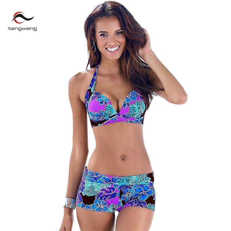 Tengweng 2019 Sexy Women Floral Print Tankini Swimwear Push Up Bikini Shorts Plus Size Swimsuit Brazilian Female Bathing Suit