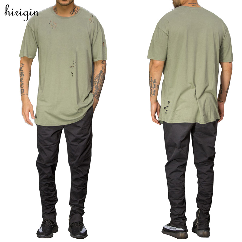 2017 Summer Ripped Holed t-shirts Men's Brand Clothing O-neck Short Sleeve Decorative Holes  t shirt Men Tees Tops Homme