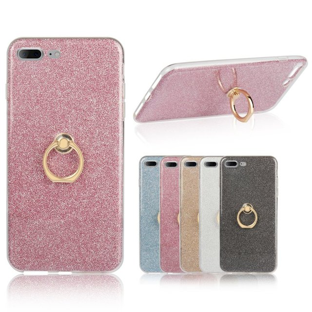 competitive price f1eff d1677 US $2.98 15% OFF|Ring Holder Case for iPhone 7 7Plus Glitter Finger Grip  Cover Rubber Bling Etui Coque Capinhas Para for iPhone7 Plus Hoesje Capa-in  ...