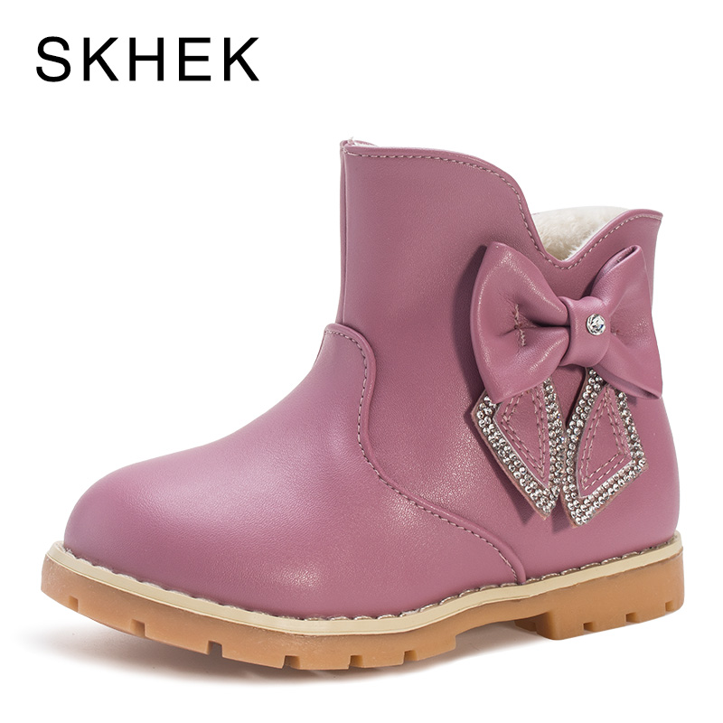 SKHEK New Fashion Children Autumn Spring Winter Boots Cute Keep Warm Kids Girls Princess Boots Antislip Leather Girl Floral Boot