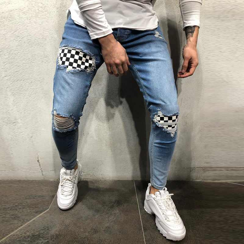 Fashion High Street Männer Denim Jeans Plaid Patchwork Dünne Hosen Slim Fit Zipper Bleistift Jeans Homme Distressed Zerrissene Jeans-Hose