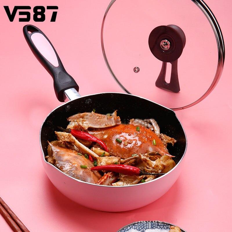 Antiadhésive Rose Crêpe Omelette poêle à frire Cuisinière À Induction Pan Pot Avec Couvercle Transparent Ustensiles de Cuisine Cuisine ustensiles de cuisine 24 cm